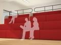 Modulaire zitelementen voor auditorium of tribune recht