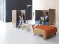 Modulair zitsysteem akoestisch afgescheiden lounge foyer