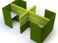 Modulaire bank Cubbi werkunit met akoestische afscheiding